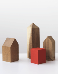 Building blocks shaped as houses